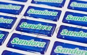 Шильды киев, изготовление шильдов соки Sandora